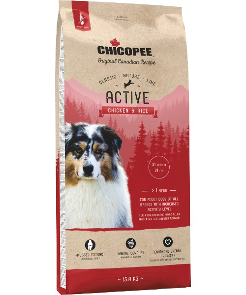 Chicopee CNL Adult Dog - Active Chiken & Rice 15kg